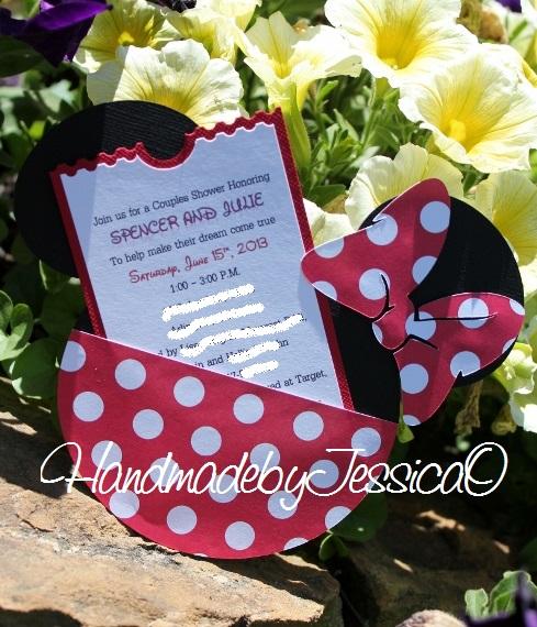 MinnieMouseTicketInvitation hand made custom invitations